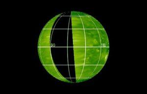 Czarny obszar oznacza rejon Słońca, skąd aktualnie nie ma informacji na temat aktywności fotosfery Słońca - stan na 20 marca 2017 / Credits - NASA