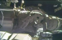 Prace przy Node 3 podczas EVA-41 / Credits - NASA TV