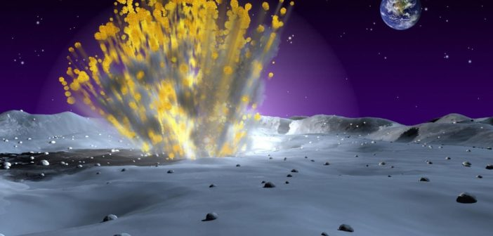 Wizja artystyczna uderzenia małego obiektu w powierzchnię Księżyca / Credits - NASAWizja artystyczna uderzenia małego obiektu w powierzchnię Księżyca / Credits - NASA