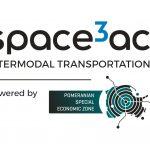Logotyp Space3ac Intermodal Transportation / Credits - Blue Dot Solutions i Pomorska Specjalna Strefa Ekoniomiczna