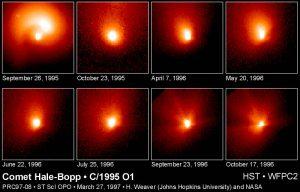 Obserwacje okolic jądra komety Hale-Bopp przez HST / Credits - H. Weaver, NASA