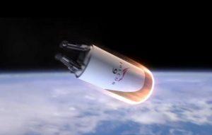 Grafika z 2012 roku - zmodyfikowany drugi stopień Falcona 9R wchodzi w atmosferę / Credits - SpaceX