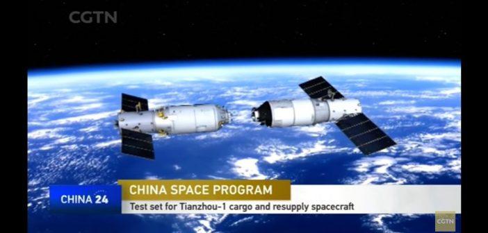 Grafika przedstawiająca TZ-1 i TG-2 w trakcie cumowania / Credits - CGTN