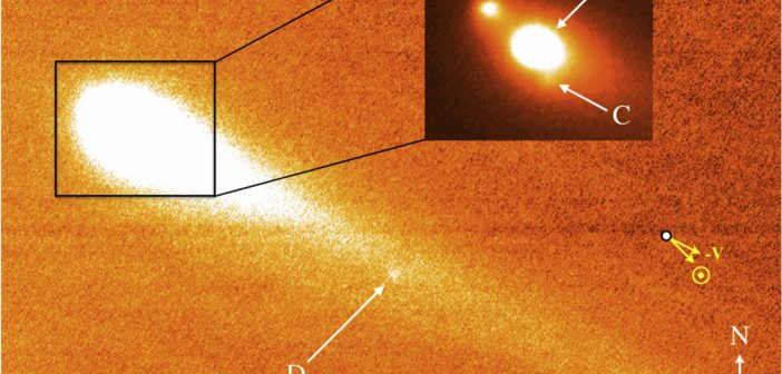 Obraz teleskopu Keck - fragmentacja P/2013 R3 (październik 2013) / Credits - Jewitt et al. 2017