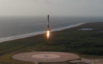 Lądujący Falcon 9R w LZ-1 / Credits - SpaceX