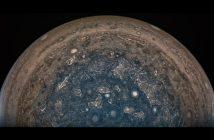 Południowy obszar polarny Jowisza (przetworzony obraz z danych z Juno) / Credits - NASA/JPL-Caltech/SwRI/MSSS/Roman Tkachenko
