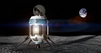 Wizja artystyczna lądownika na powierzchni Księżyca
