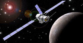 Wizualizacja sondy Bepi Colombo na orbicie wokół Merkurego / Credits - ESA