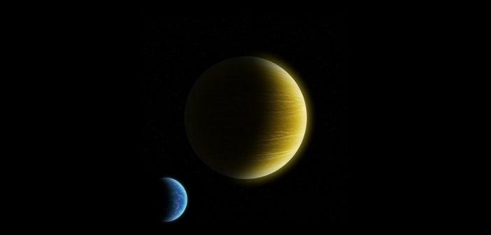 Gazowy gigant i krążący wokół duży księżyc z grubą atmosferą oraz oceanami / Credits - K. Kanawka, Kosmonauta.net