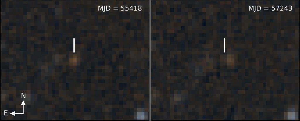 Obrazy z sondy WISE w odstępie 5 lat. Zaznaczony brązowy karzeł / Credits: Kuchner; NASA