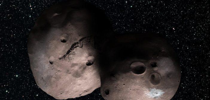 2014 MU69 - wizja podwójnej planetoidy / Credits - NASA/JHUAPL/SwRI/Alex Parker