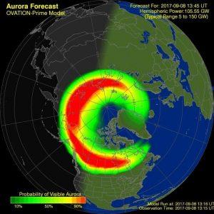 Rozbudowane zorze polarne - obraz z dnia (czasu europejskiego) 8 września 2017 / Credits - NOAA