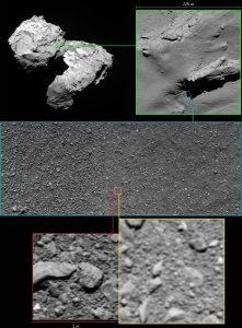Ułożenie dwóch ostatnich zdjęć z misji Rosetta (na czerwono - zrekonstruowane zdjęcie) / Credits - ESA/Rosetta/MPS for OSIRIS Team MPS/UPD/LAM/IAA/SSO/INTA/UPM/DASP/IDA