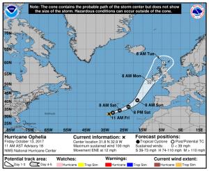 Przewidwana droga huraganu Ophelia w najbliższych dniach - stan na 13 października, godzina 17:00 CEST / Credits - NOAA