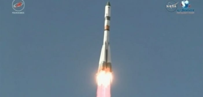 Start Sojuza-2.1a z Progressem MS-07 / Credits - NASA TV
