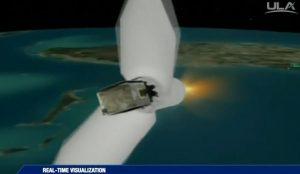 Koniec transmisji ze startu - odrzucona osłona aerodynamiczna i pierwsze (oraz ostatnie) spojrzenie na NROL-52 / Credits - ULA