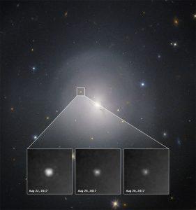 Obserwacje wizualne kilonowej GW170817 za pomocą HST / Credits - NASA, ESA, A. Levan (U. Warwick), N. Tanvir (U. Leicester), A. Fruchter, O. Fox (STScI)