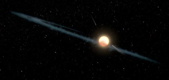 Możliwe wyjaśnienie spadków jasności KIC 8462852 - dysk pyłowy wokół gwiazdy / Credits - NASA/JPL-Caltech