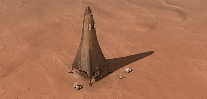 Wizualizacja lądownika - część koncepcji Mars Base Camp / Credits - Lockheed Martin