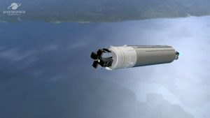 Grafika wyświetlona podczas lotu Ariane 5 z czterema satelitami Galileo (po odrzuceniu rakiet pomocniczych oraz osłony aerodynamicznej) / Credits - Arianespace