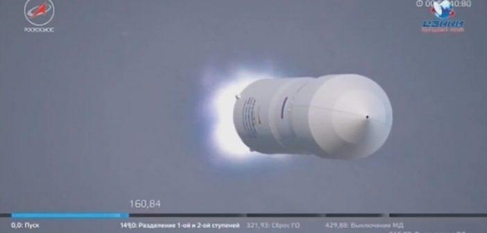 Klatka z animacji prezentującej pracę drugiego stopnia rakiety Zenit-3 SLBF / Credits - Roskosmos