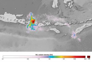 Stężenie dwutlenku siarki nad wulkanem nad Bali /  Credits - Copernicus Sentinel data (2017), processed by KNMI/ESA