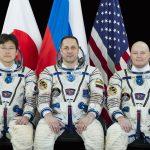 Załoga Sojuza MS-07. Od lewej Norishige Kanai, Anton Szkaplerow, Scott Tingle / Roskosmos