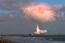 Kadr z eksplozji rakiety Delta II - styczeń 1997 / Credits - USAF