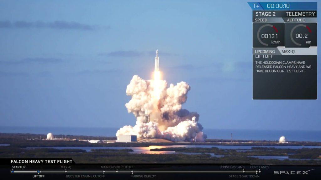 Pierwszy start Falcona Heavy - 06.02.2018 / Credits - SpaceX