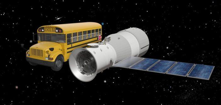 Porównanie wielkości Tiangong-1 z autobusem / Credits - AC