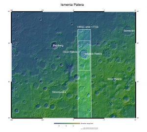 Fragment Ismenia Patera w rejonie Arabia Terra / credits: NASA MGS MOLA Science Team
