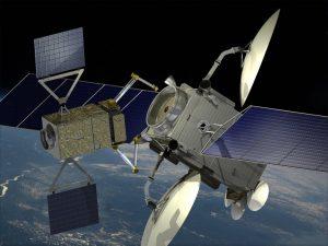 Wizja artystyczna przedstawiająca satelitę telekomunikacyjnego naprawianego przez zrobotyzowany pojazd serwisowy wykorzystujący urządzenia PIAP Space / Credits - PIAP Space