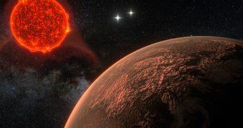 Grafika prezentująca Proximę Centauri i jej skalistą egzoplanetę / Credits - Ricardo Ramirez & James Jenkins (Department of Astronomy, Universidad de Chile)