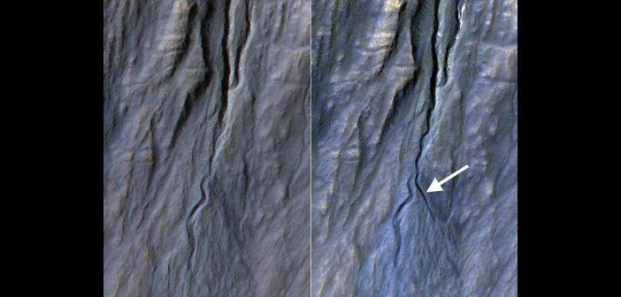 Nowy marsjański żleb okiem HiRISE / Credits - NASA/JPL-Caltech/Univ. of Arizona