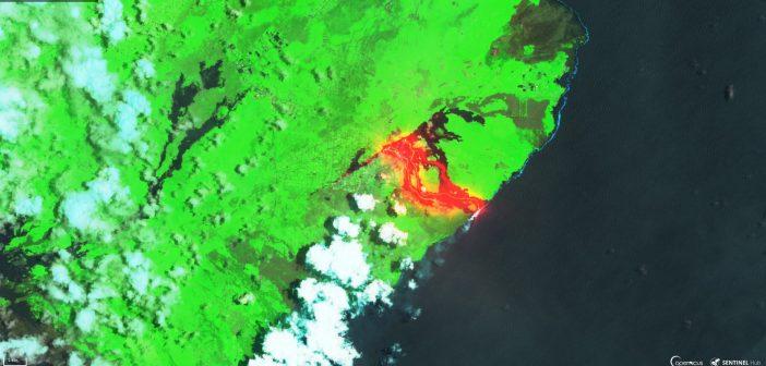 Erupcje na wyspie Hawai okiem Sentineli 2