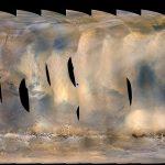Obraz burzy pyłowej na Marsie, uzyskany za pomocą instrumentu MARCI sondy MRO - początek czerwca 2018. Niebieska kropka - tam przebywa Opportunity /Credits - NASA/JPL-Caltech/MSSS