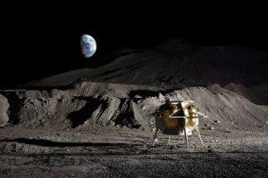 Grafika prezentująca lądownik Peregrine firmy Astrobiotic na powierzchni Księżyca / Credits - Astrobiotic