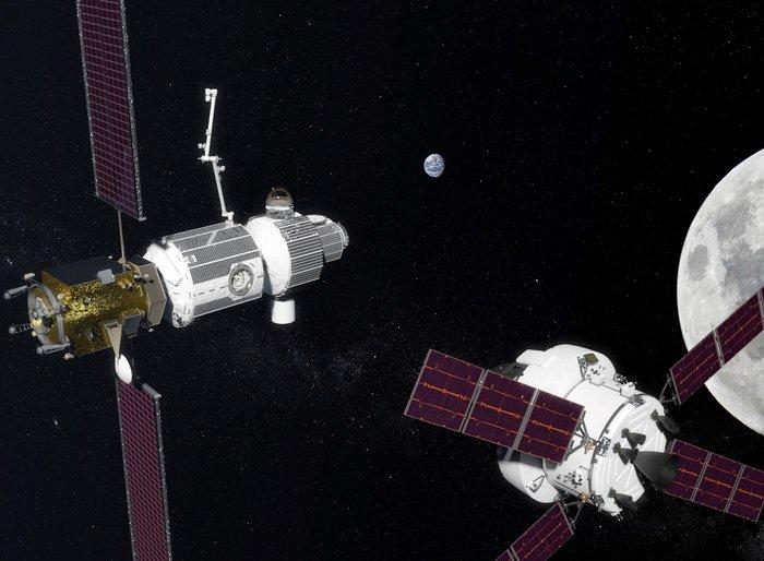 Stacja kosmiczna LOP-G na orbicie Księżyca / Credits - NASA