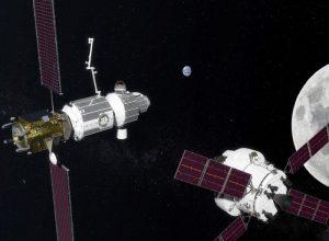 Stacja kosmiczna LOP-G na orbicie Księżyca / Credits: NASA