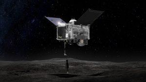 Wizualizacja pobrania próbek przez sondę OSIRIS-REx / NASA