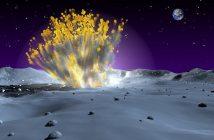 Artystyczna wizja uderzenia małego obiektu w Księżyc / Credits - NASA