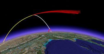 Trajektoria lotu pocisku ASAT (kolor biały), satelity (kolor żółty) oraz szczątków i pierwszego stopnia pocisku ASAT (kolor czerwony) / Credits - MIT