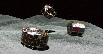 Wizualizacja łazików MINERVA-II na powierzchni Ryugu / JAXA
