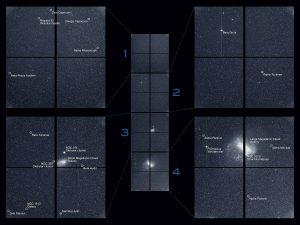 Pełen obraz z czterech kamer teleskopu TESS (oraz prezentacja najjaśniejszych obiektów w polu widzenia) / Credits - NASA/MIT/TESS