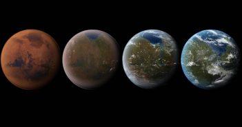 Artystyczna wizja Marsa w różnych stadiach terraformowania (credits: universetoday.com)