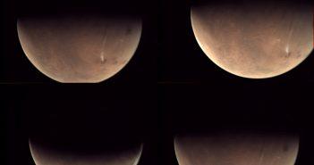 Mozaika obrazów z VMC sondy Mars Express z widoczną chmurą w okolicy Arsia Mons / Credits - ESA, CC BY-SA 3.0 IGO