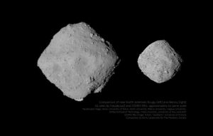 Pierwsze porównanie Ryugu (po lewej) i Bennu (po prawej) / Credits - JAXA, University of Tokyo, Kochi University, Rikkyo University, Nagoya University, Chiba Institute of Technology, Meiji University, University of Aizu, AIST, NASA, Goddard, University of Arizona, Emiliy Lakdawalla dla Planetary Society