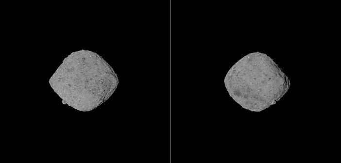 Dwa spojrzenia na planetoidę Bennu z odległości około 200 km/ Credits - NASA/Goddard/University of Arizona