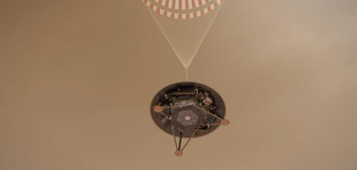 Grafika prezentująca etap lądowania InSight na spadochronie / Credits - NASA