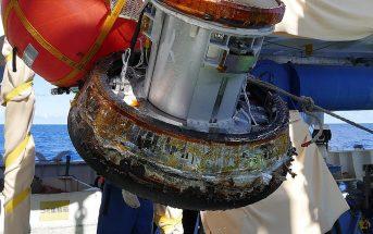Kapsuła HSRC po podjęciu po zakończeniu misji HTV-7 / Credits - JAXA